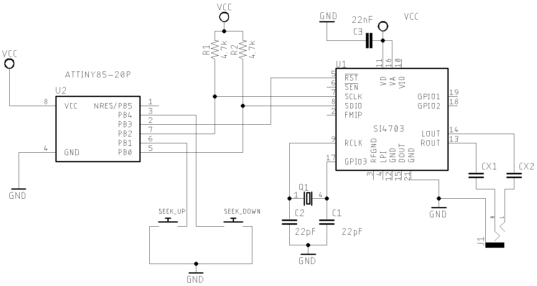schematic Attiny85 and buttons